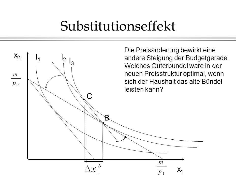 Substitutionseffekt x2x2 x1x1 Die Preisänderung bewirkt eine andere Steigung der Budgetgerade. Welches Güterbündel wäre in der neuen Preisstruktur opt
