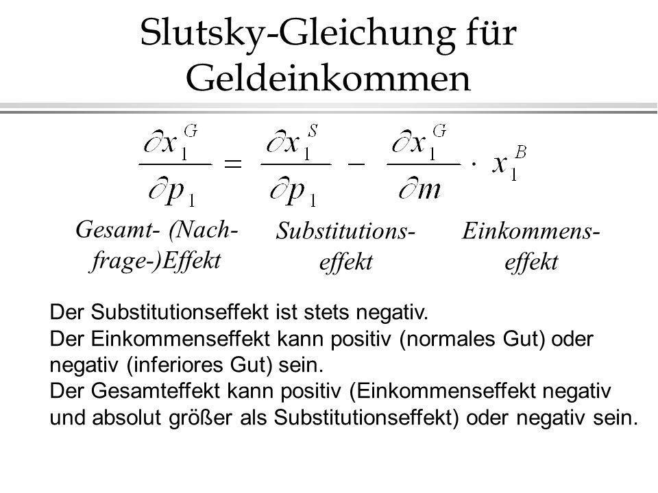 Slutsky-Gleichung für Geldeinkommen Einkommens- effekt Substitutions- effekt Gesamt- (Nach- frage-)Effekt Der Substitutionseffekt ist stets negativ.