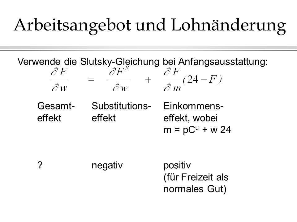 Arbeitsangebot und Lohnänderung Verwende die Slutsky-Gleichung bei Anfangsausstattung: Gesamt- effekt ? Substitutions- effekt negativ Einkommens- effe