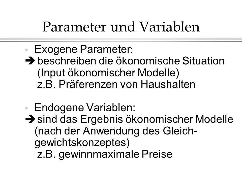Parameter und Variablen Exogene Parameter : beschreiben die ökonomische Situation (Input ökonomischer Modelle) z.B. Präferenzen von Haushalten Endogen