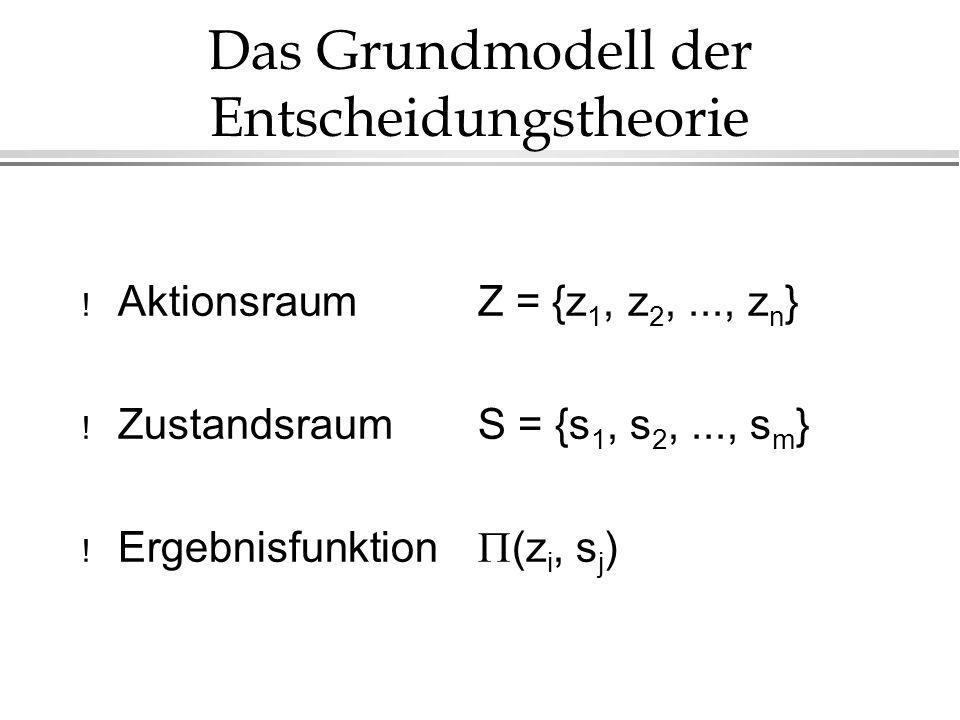 Das Grundmodell der Entscheidungstheorie ! Aktionsraum Z = {z 1, z 2,..., z n } ! Zustandsraum S = {s 1, s 2,..., s m } Ergebnisfunktion (z i, s j )