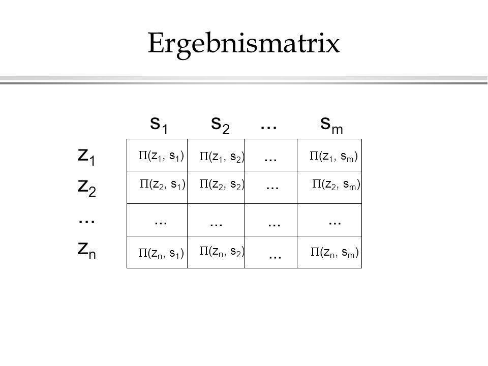 s 1 s 2... s m z 1 z 2... z n Ergebnismatrix (z 1, s 1 ) (z 2, s 1 ) (z n, s 1 ) (z 1, s 2 ) (z 2, s 2 ) (z n, s 2 ) (z 1, s m ) (z 2, s m ) (z n, s m
