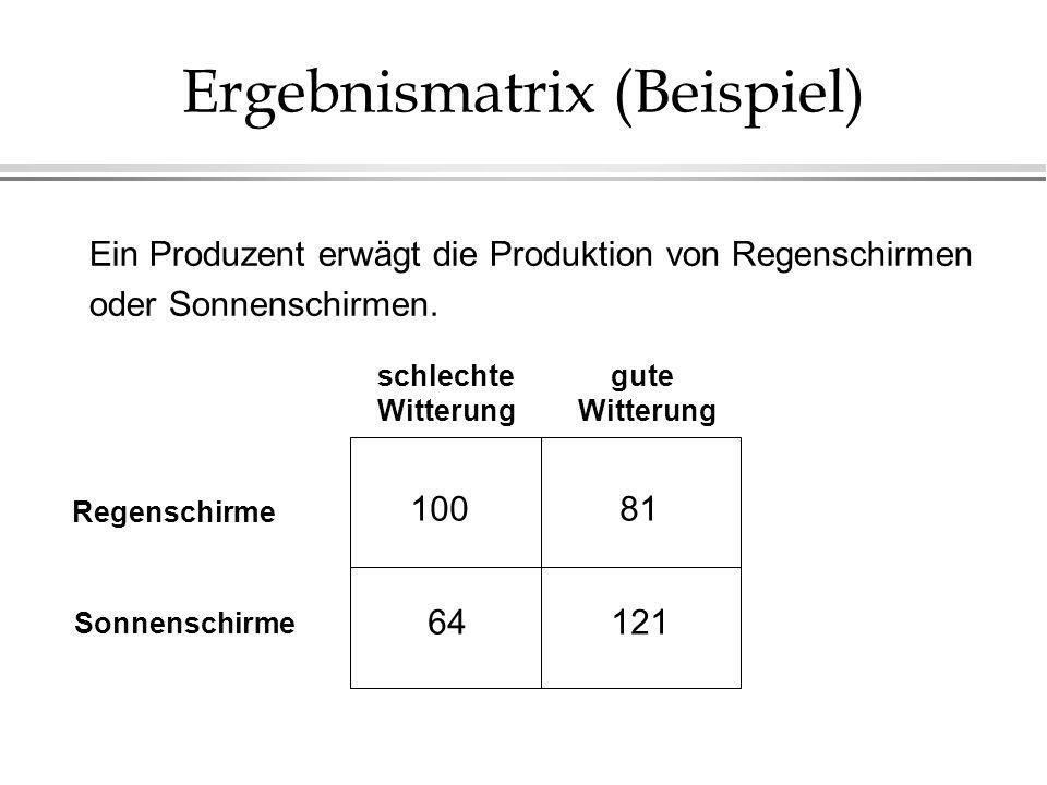 Ergebnismatrix (Beispiel) Ein Produzent erwägt die Produktion von Regenschirmen oder Sonnenschirmen. 100 64 81 121 schlechte Witterung gute Witterung