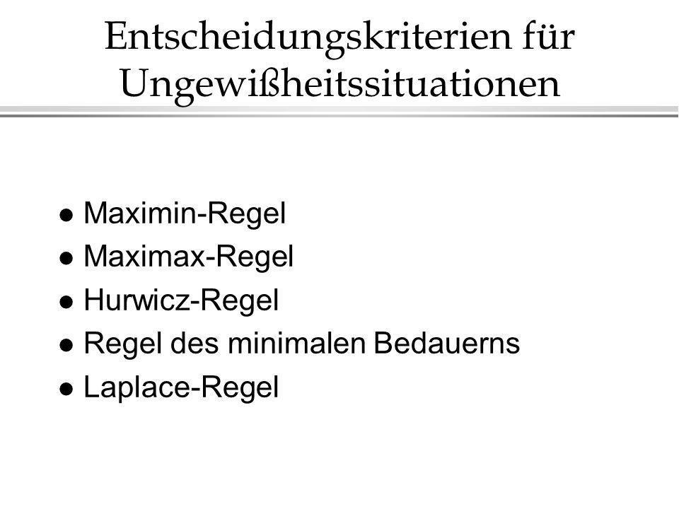 Entscheidungskriterien für Ungewißheitssituationen l Maximin-Regel l Maximax-Regel l Hurwicz-Regel l Regel des minimalen Bedauerns l Laplace-Regel