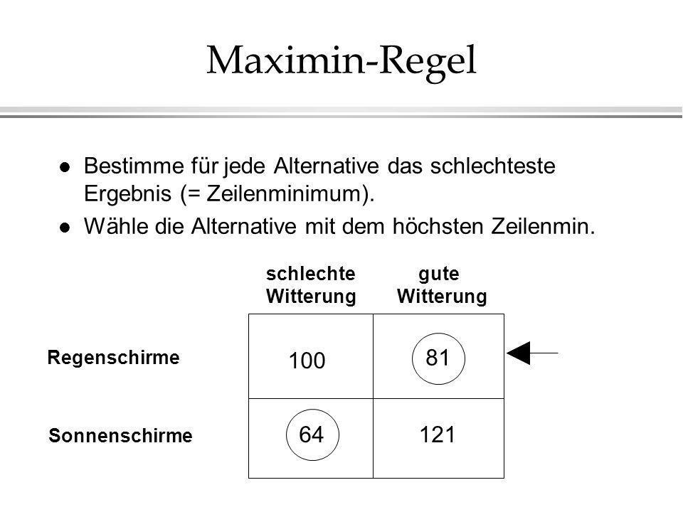 Maximin-Regel l Bestimme für jede Alternative das schlechteste Ergebnis (= Zeilenminimum). l Wähle die Alternative mit dem höchsten Zeilenmin. 100 64