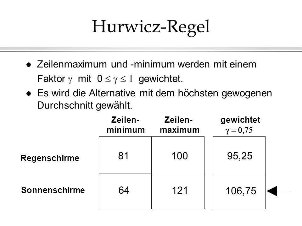 Hurwicz-Regel l Zeilenmaximum und -minimum werden mit einem Faktor mit 0 gewichtet. l Es wird die Alternative mit dem höchsten gewogenen Durchschnitt