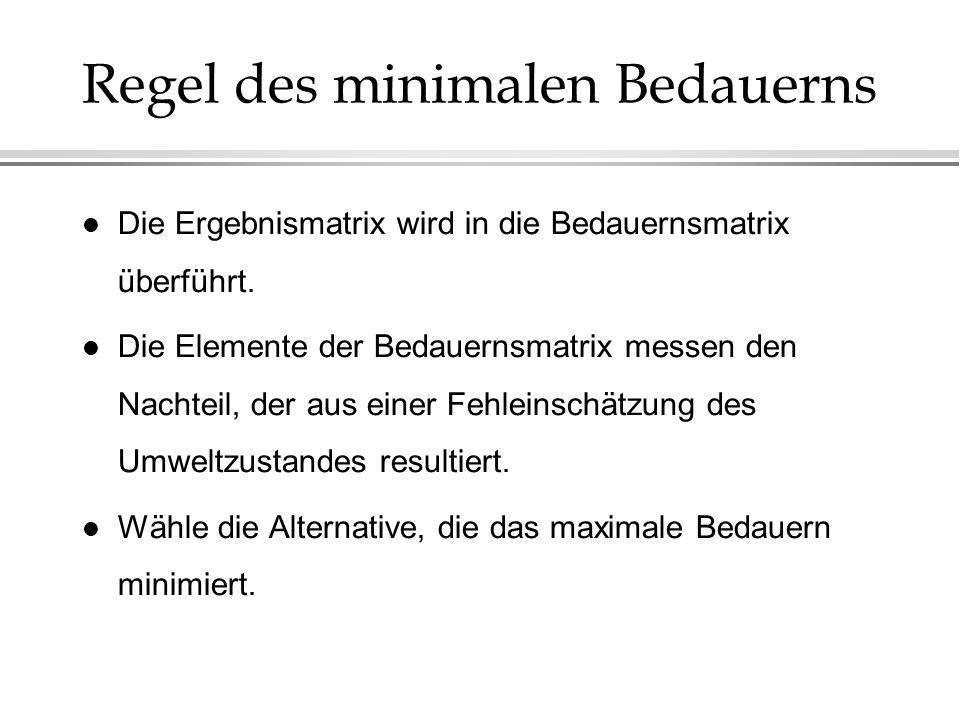 Regel des minimalen Bedauerns l Die Ergebnismatrix wird in die Bedauernsmatrix überführt. l Die Elemente der Bedauernsmatrix messen den Nachteil, der