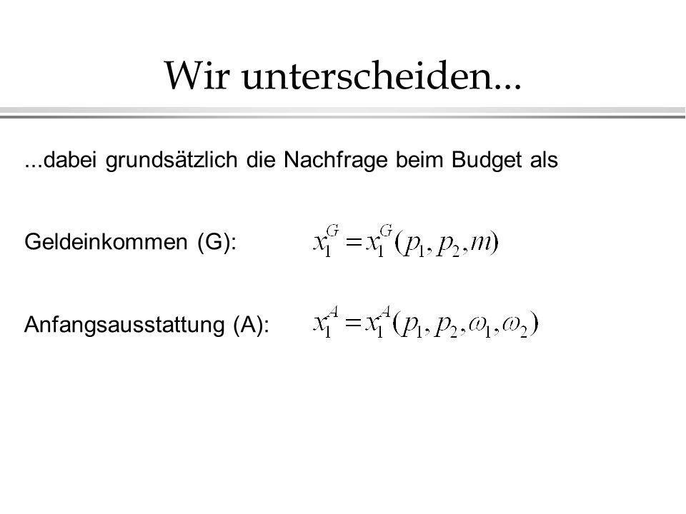 Wir unterscheiden......dabei grundsätzlich die Nachfrage beim Budget als Geldeinkommen (G): Anfangsausstattung (A):