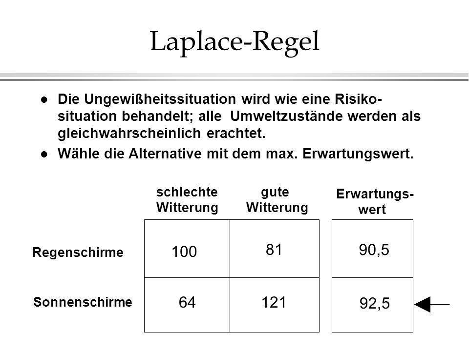 Laplace-Regel l Die Ungewißheitssituation wird wie eine Risiko- situation behandelt; alle Umweltzustände werden als gleichwahrscheinlich erachtet.