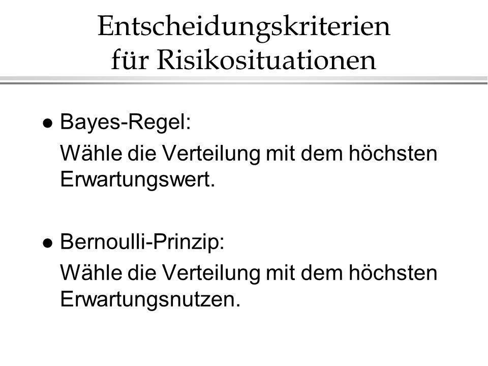Entscheidungskriterien für Risikosituationen l Bayes-Regel: Wähle die Verteilung mit dem höchsten Erwartungswert. l Bernoulli-Prinzip: Wähle die Verte
