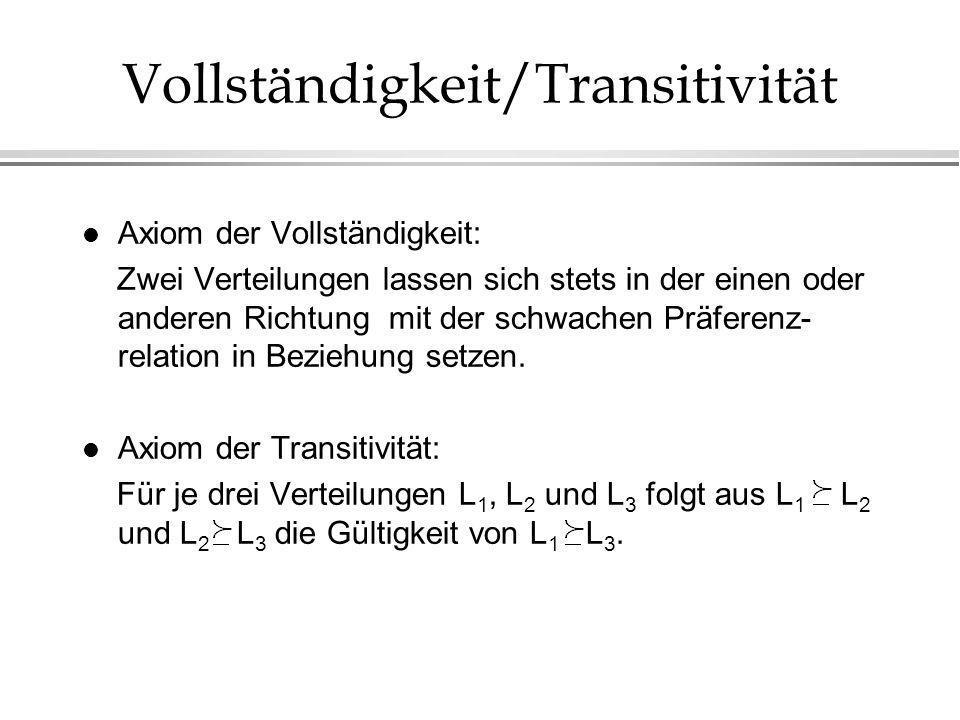 Vollständigkeit/Transitivität l Axiom der Vollständigkeit: Zwei Verteilungen lassen sich stets in der einen oder anderen Richtung mit der schwachen Präferenz- relation in Beziehung setzen.