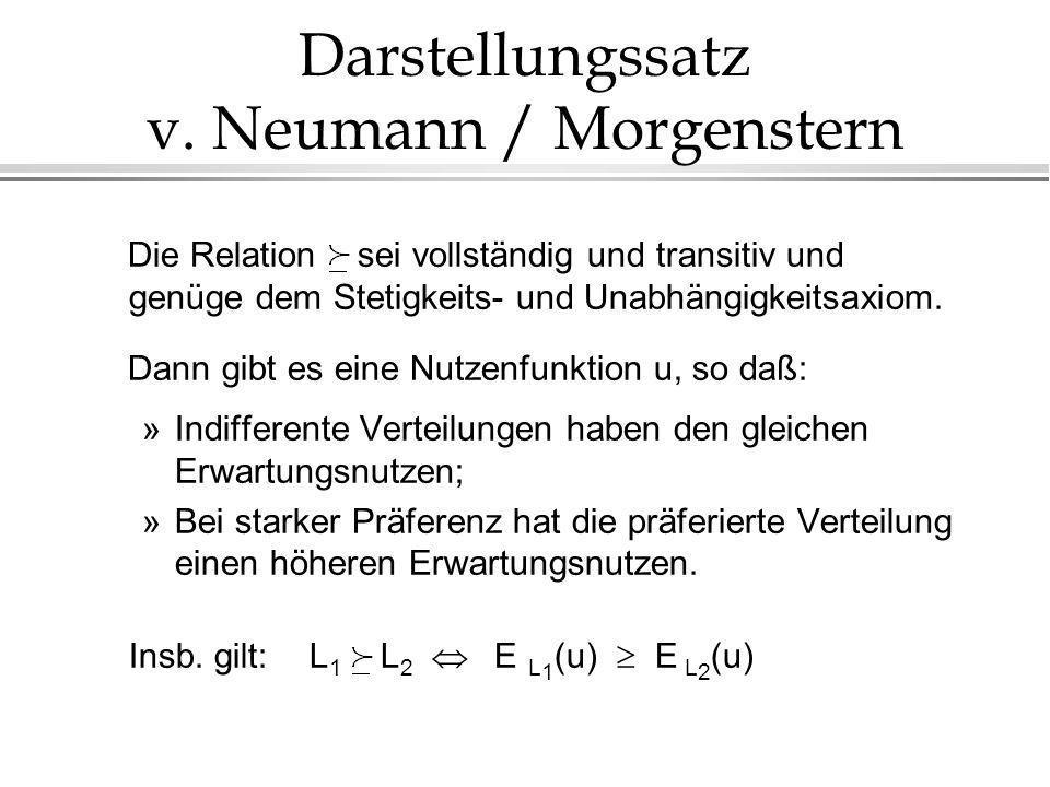 Darstellungssatz v. Neumann / Morgenstern Die Relation sei vollständig und transitiv und genüge dem Stetigkeits- und Unabhängigkeitsaxiom. Dann gibt e