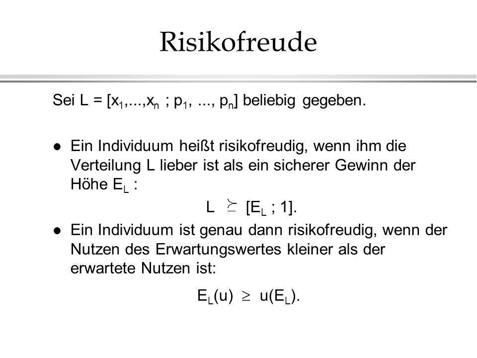 Risikofreude Sei L = [x 1,...,x n ; p 1,..., p n ] beliebig gegeben. l Ein Individuum heißt risikofreudig, wenn ihm die Verteilung L lieber ist als ei