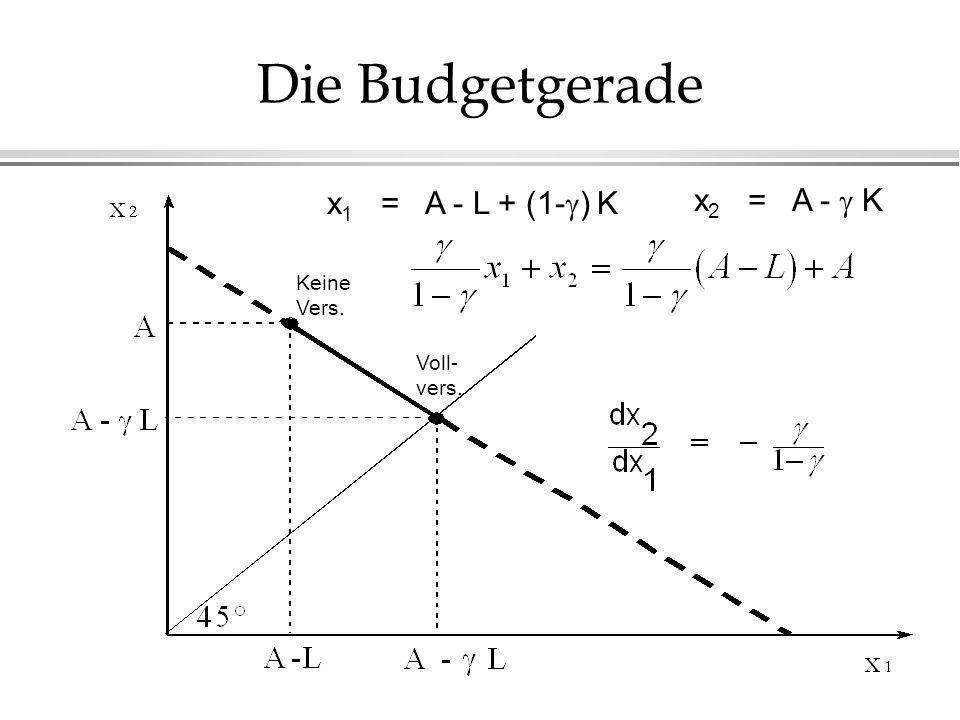 Die Budgetgerade Keine Vers. Voll- vers. x 1 = A - L + (1- ) K x 2 = A - K
