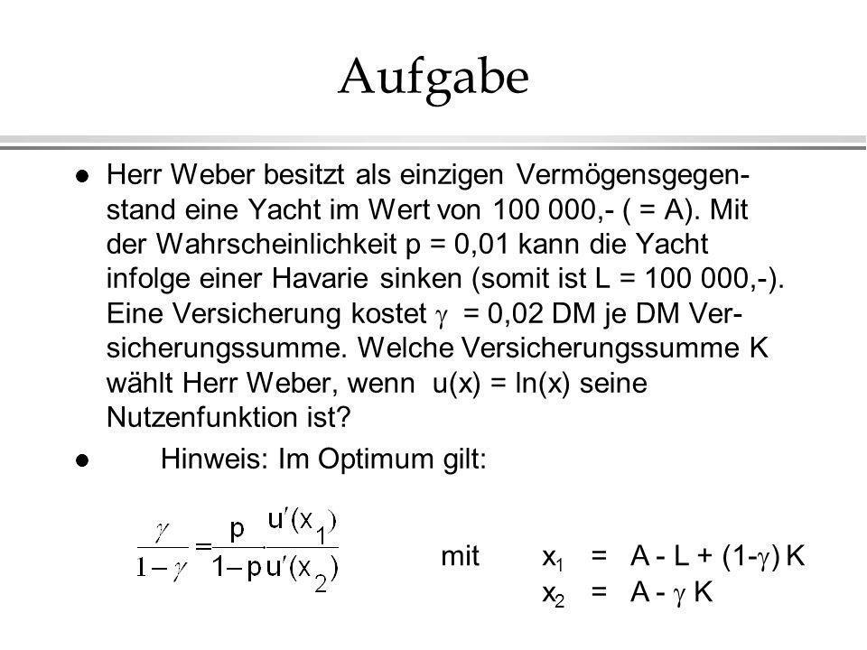 Aufgabe Herr Weber besitzt als einzigen Vermögensgegen- stand eine Yacht im Wert von 100 000,- ( = A). Mit der Wahrscheinlichkeit p = 0,01 kann die Ya