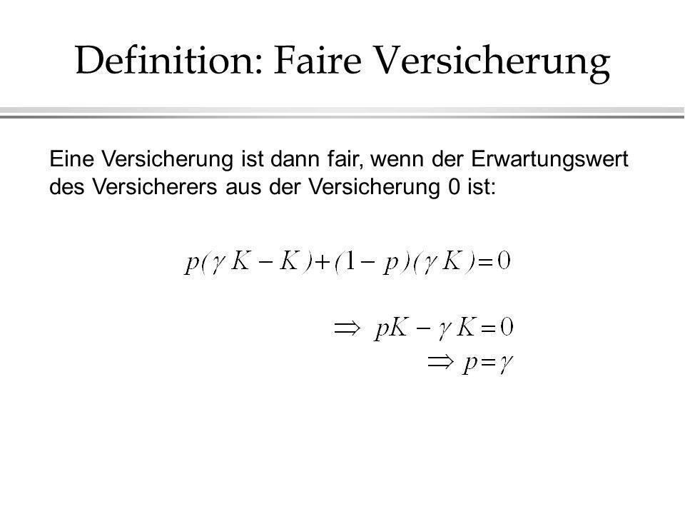 Definition: Faire Versicherung Eine Versicherung ist dann fair, wenn der Erwartungswert des Versicherers aus der Versicherung 0 ist: