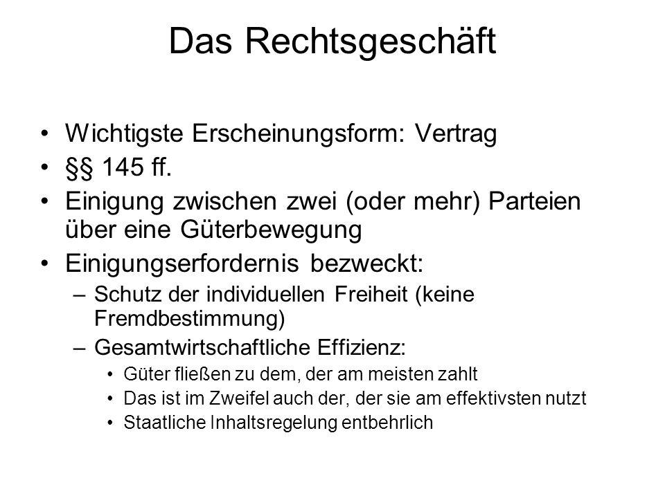Wichtigste Erscheinungsform: Vertrag §§ 145 ff. Einigung zwischen zwei (oder mehr) Parteien über eine Güterbewegung Einigungserfordernis bezweckt: –Sc