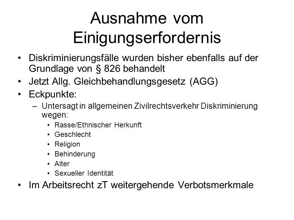 Ausnahme vom Einigungserfordernis Diskriminierungsfälle wurden bisher ebenfalls auf der Grundlage von § 826 behandelt Jetzt Allg. Gleichbehandlungsges