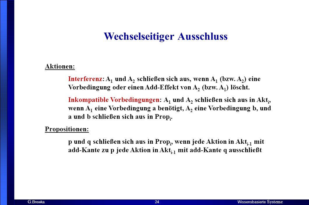 G. BrewkaWissensbasierte Systeme 24 Wechselseitiger Ausschluss Aktionen: Interferenz: A 1 und A 2 schließen sich aus, wenn A 1 (bzw. A 2 ) eine Vorbed