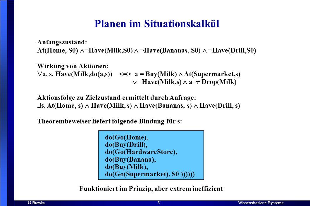 G. BrewkaWissensbasierte Systeme 3 Planen im Situationskalkül Anfangszustand: At(Home, S0) ¬Have(Milk,S0) ¬Have(Bananas, S0) ¬Have(Drill,S0) Wirkung v