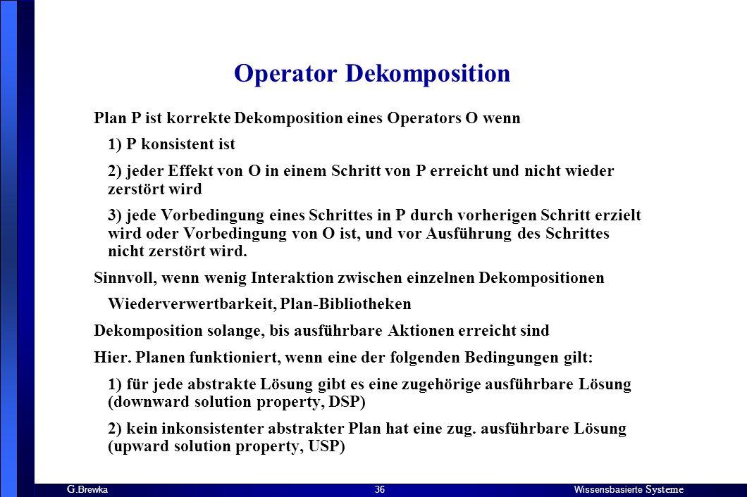G. BrewkaWissensbasierte Systeme 36 Operator Dekomposition Plan P ist korrekte Dekomposition eines Operators O wenn 1) P konsistent ist 2) jeder Effek