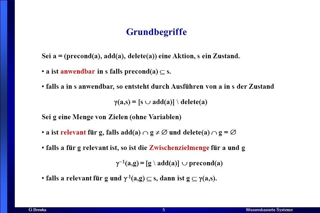 G. BrewkaWissensbasierte Systeme 5 Sei a = (precond(a), add(a), delete(a)) eine Aktion, s ein Zustand. a ist anwendbar in s falls precond(a) s. falls