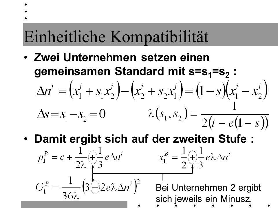 Einheitliche Kompatibilität Zwei Unternehmen setzen einen gemeinsamen Standard mit s=s 1 =s 2 : Damit ergibt sich auf der zweiten Stufe : Bei Unterneh