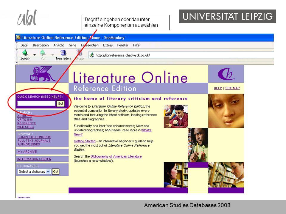 American Studies Databases 2008 Begriff eingeben oder darunter einzelne Komponenten auswählen