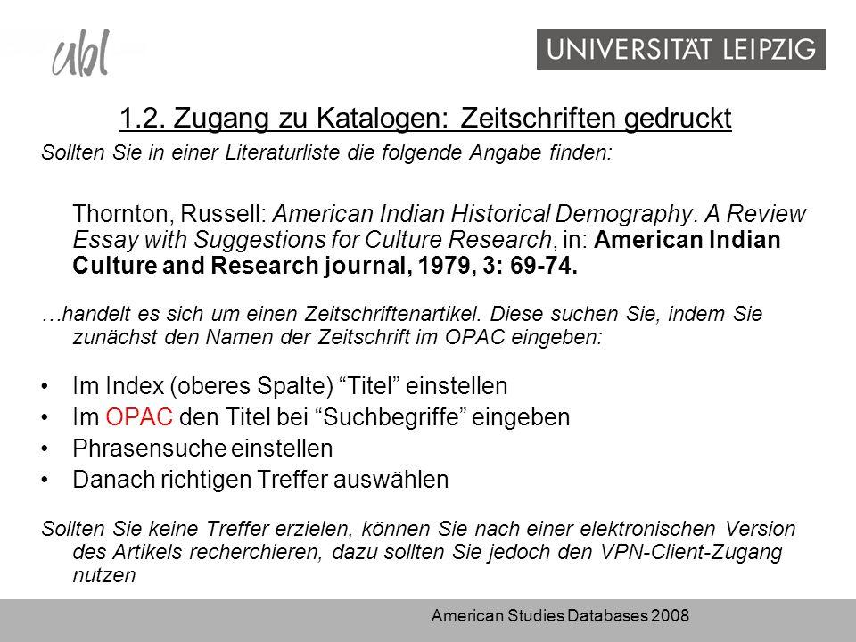 American Studies Databases 2008 3.3.