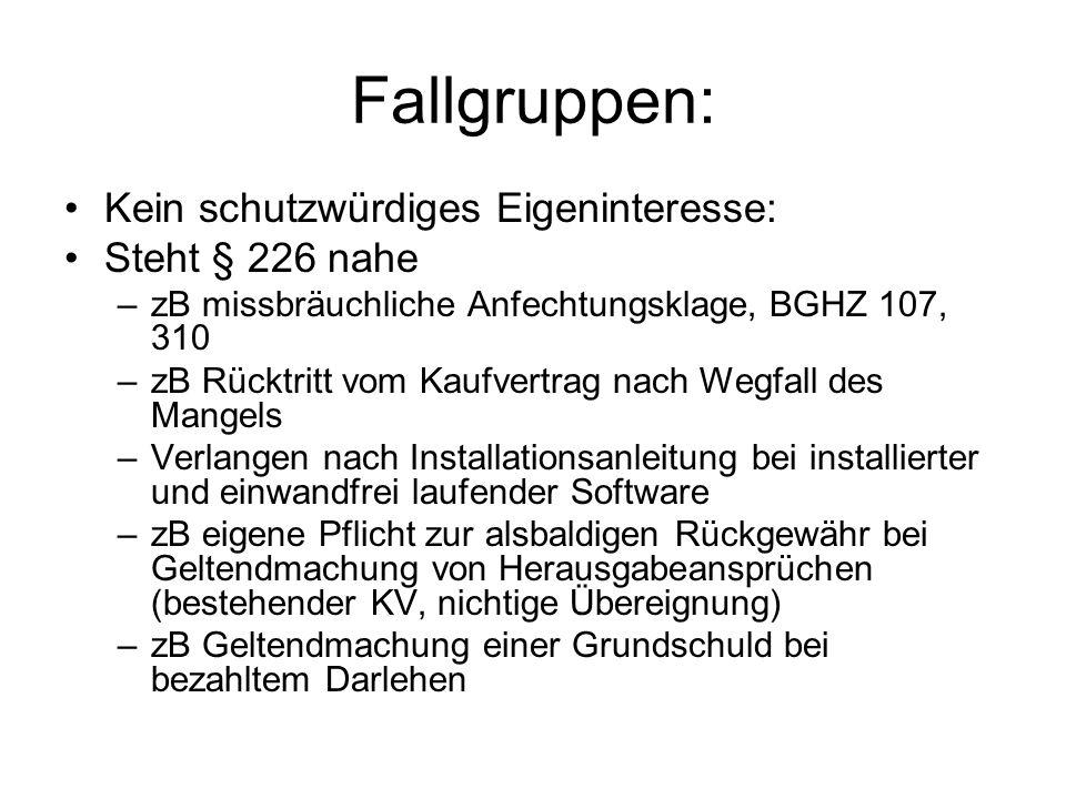 Problem des subjektiven Systems Ohne Kenntnis/ grob fahrl.