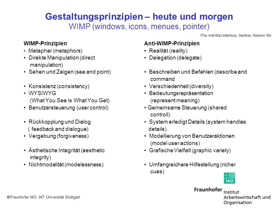 Fraunhofer IAO, IAT Universität Stuttgart Fenstertitel Enthält das Fenster einen Ausschnitt aus dem Inhalt eines Objektes, so wird im Fenstertitel zusätzlich zum Namen des betroffenen Objektes der Name des aktivierten Teilausschnitts angegeben.