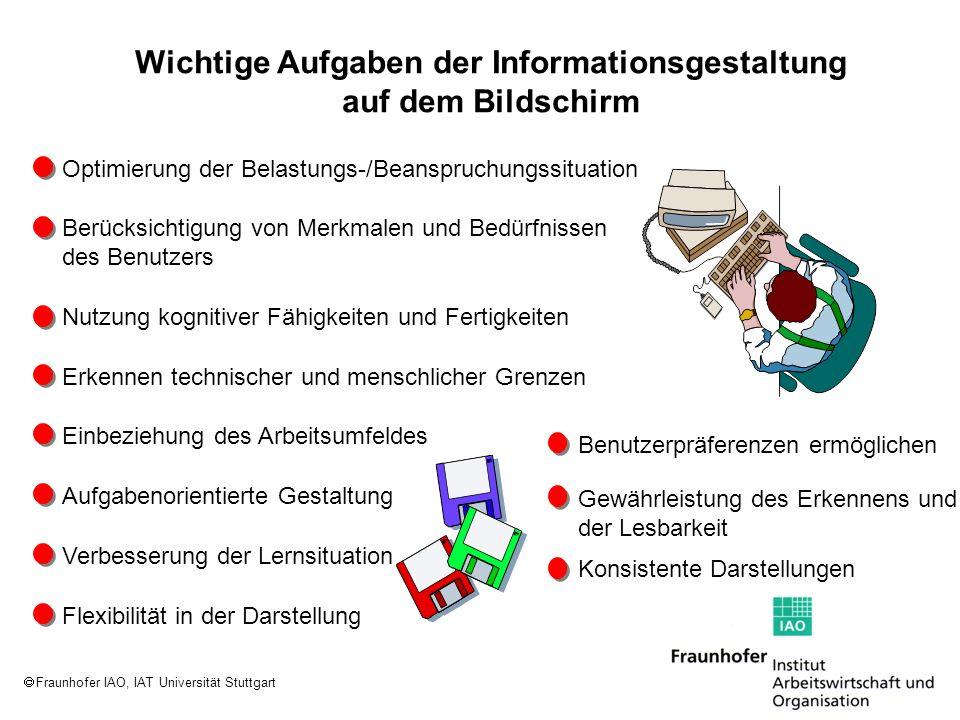 Fraunhofer IAO, IAT Universität Stuttgart Wichtige Aufgaben der Informationsgestaltung auf dem Bildschirm Optimierung der Belastungs-/Beanspruchungssi