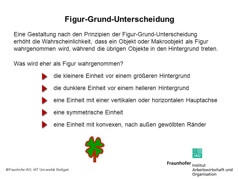 Fraunhofer IAO, IAT Universität Stuttgart Eine Gestaltung nach den Prinzipien der Figur-Grund-Unterscheidung erhöht die Wahrscheinlichkeit, dass ein O