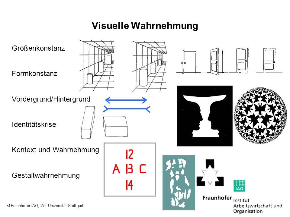 Fraunhofer IAO, IAT Universität Stuttgart Größenkonstanz Formkonstanz Identitätskrise Vordergrund/Hintergrund Kontext und Wahrnehmung Gestaltwahrnehmu