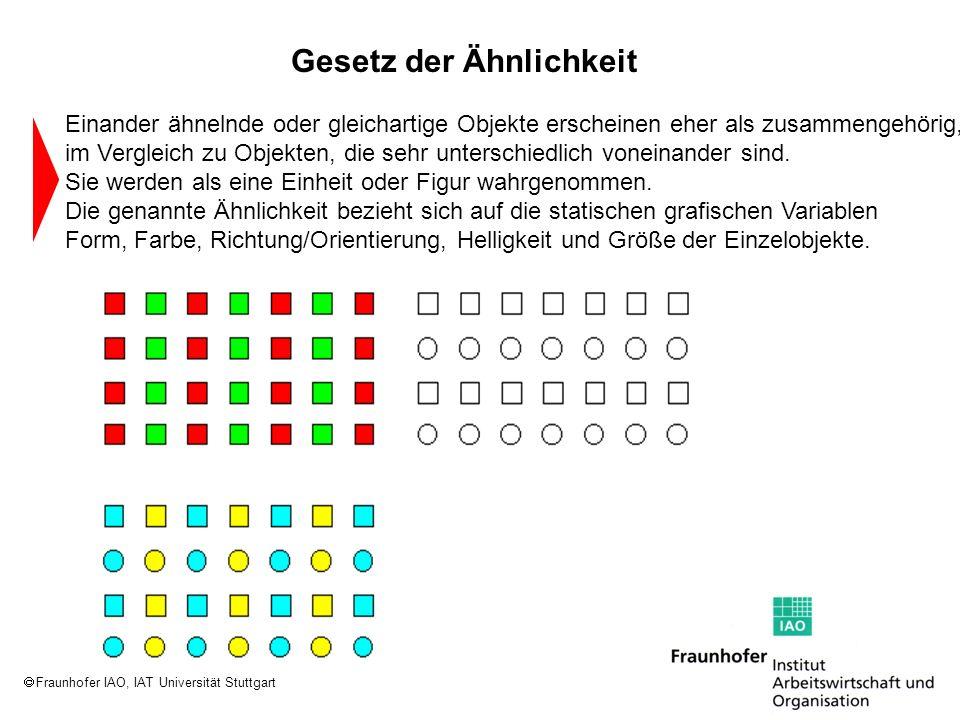 Fraunhofer IAO, IAT Universität Stuttgart Einander ähnelnde oder gleichartige Objekte erscheinen eher als zusammengehörig, im Vergleich zu Objekten, d
