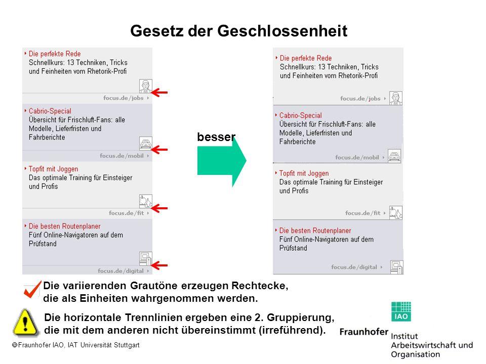 Fraunhofer IAO, IAT Universität Stuttgart Die variierenden Grautöne erzeugen Rechtecke, die als Einheiten wahrgenommen werden. Die horizontale Trennli