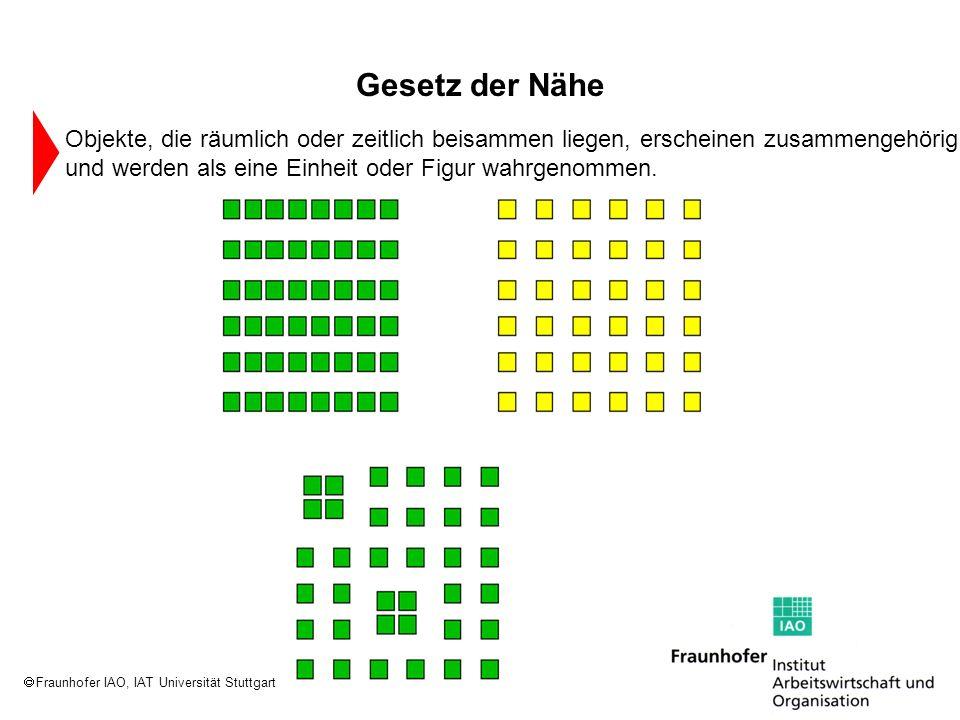 Fraunhofer IAO, IAT Universität Stuttgart Objekte, die räumlich oder zeitlich beisammen liegen, erscheinen zusammengehörig und werden als eine Einheit