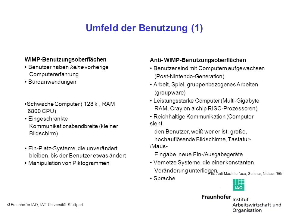 Fraunhofer IAO, IAT Universität Stuttgart Umfeld der Benutzung (2) WIMP-Benutzungsoberflächen Schwache Objektorientierung (kleine Anzahl großer Objekte mit wenigen Attributen) >>Windows-Explorer<< (sichtbares Dateisystem) vereinheitlicht die Oberfläche und Dateien sind die grundlegenden Interaktions-Objekte Durchsuche Deine Festplatte >>The Power to Be Your Best<< Anti- WIMP-Benutzungsoberflächen Ausgeprägte Objektorientierung (große Anzahl kleiner Objekte und vielfältige Attributmengen) Persönliche Informationswiedergewinnung (information retrievial) als vereinheitlichendes Prinzip mit atomaren Informationseinheiten als grundlegende Interaktions-Objekte Information kommt zu Dir Sie wollen nicht immer so hart arbeiten /The Anti-Mac Interface, Gentner, Nielson 96/