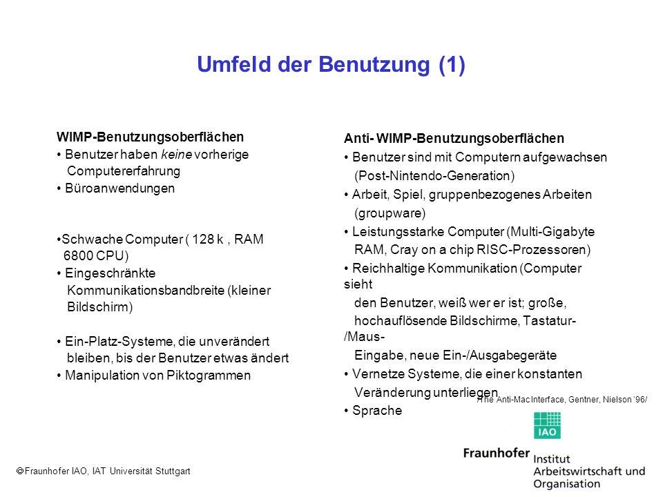 Fraunhofer IAO, IAT Universität Stuttgart Dialoggestaltung (1) Menübalken mit drop- down-Menüs pop-up-Menüs Das drop-down-Menü erscheint nach dem Anklicken des gewünschten Menütitels.