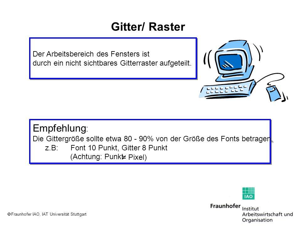 Fraunhofer IAO, IAT Universität Stuttgart Gitter/ Raster Der Arbeitsbereich des Fensters ist durch ein nicht sichtbares Gitterraster aufgeteilt. Der A