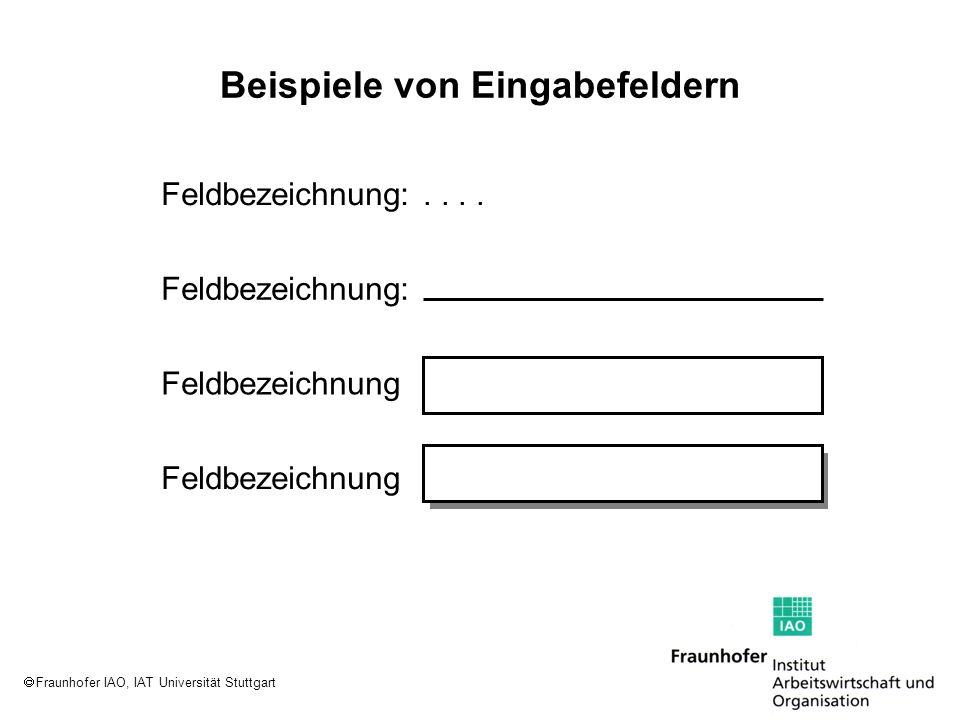 Fraunhofer IAO, IAT Universität Stuttgart Beispiele von Eingabefeldern Feldbezeichnung: Feldbezeichnung..