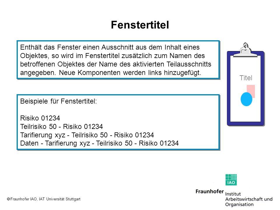 Fraunhofer IAO, IAT Universität Stuttgart Fenstertitel Enthält das Fenster einen Ausschnitt aus dem Inhalt eines Objektes, so wird im Fenstertitel zus