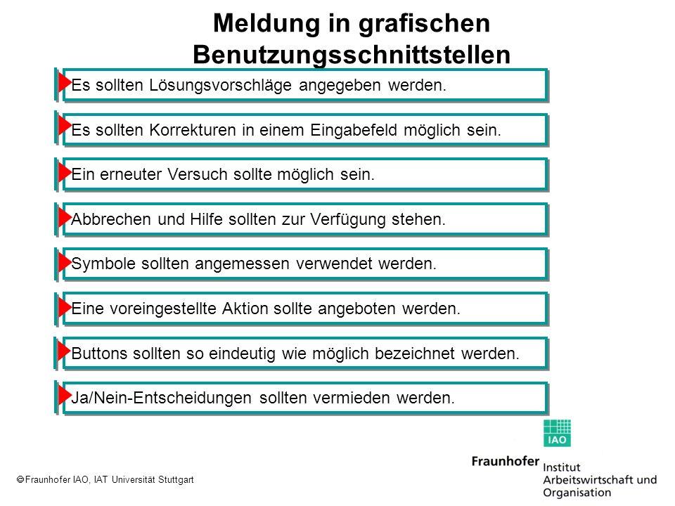 Fraunhofer IAO, IAT Universität Stuttgart Meldung in grafischen Benutzungsschnittstellen Es sollten Lösungsvorschläge angegeben werden. Es sollten Kor