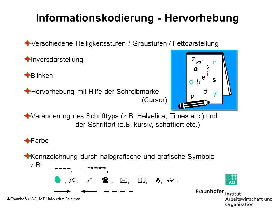Fraunhofer IAO, IAT Universität Stuttgart Informationskodierung - Hervorhebung Verschiedene Helligkeitsstufen / Graustufen / Fettdarstellung Inversdar