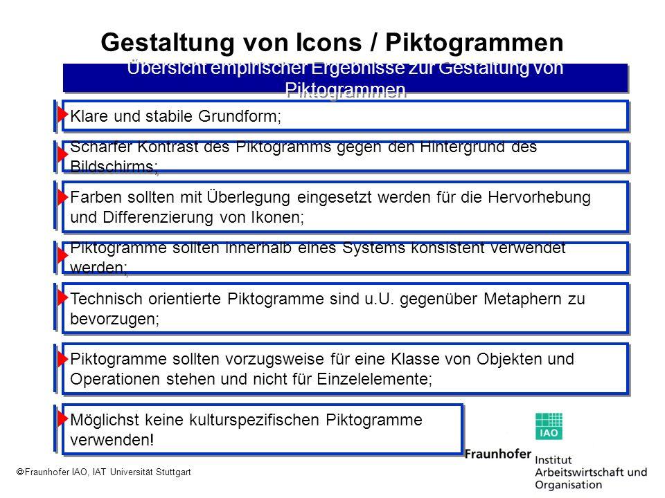 Fraunhofer IAO, IAT Universität Stuttgart Gestaltung von Icons / Piktogrammen Klare und stabile Grundform; Scharfer Kontrast des Piktogramms gegen den