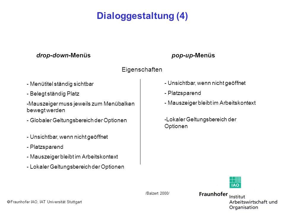 Fraunhofer IAO, IAT Universität Stuttgart Dialoggestaltung (4) Eigenschaften drop-down-Menüspop-up-Menüs - Menütitel ständig sichtbar - Belegt ständig