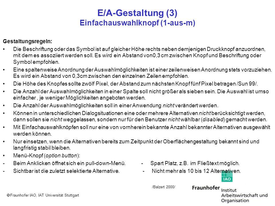 Fraunhofer IAO, IAT Universität Stuttgart E/A-Gestaltung (3) Einfachauswahlknopf (1-aus-m) Gestaltungsregeln: Die Beschriftung oder das Symbol ist auf