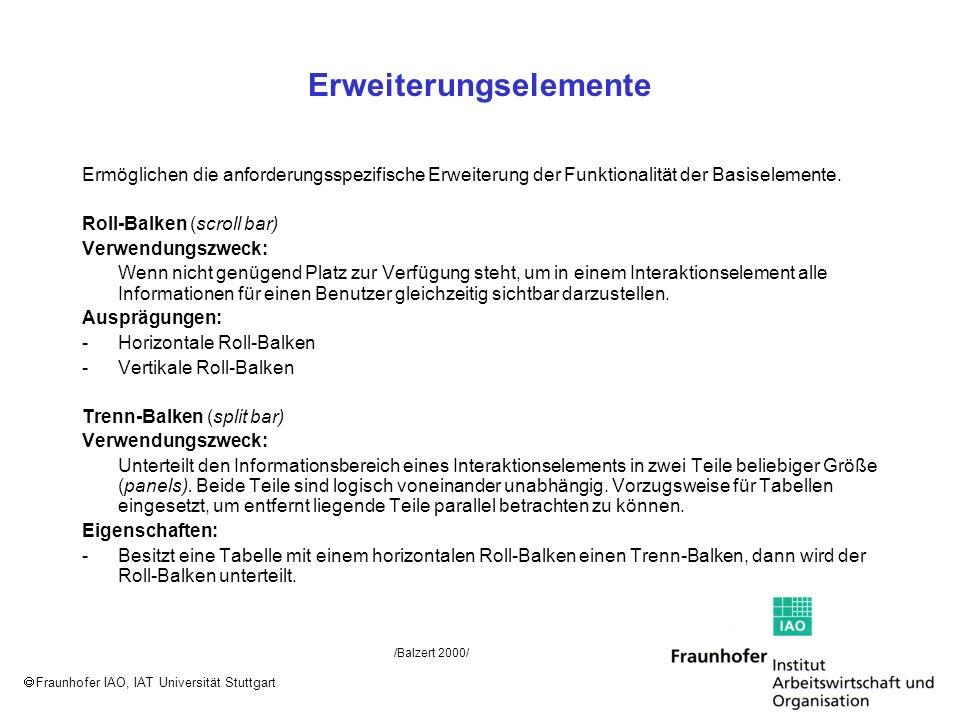 Fraunhofer IAO, IAT Universität Stuttgart Erweiterungselemente Ermöglichen die anforderungsspezifische Erweiterung der Funktionalität der Basiselement