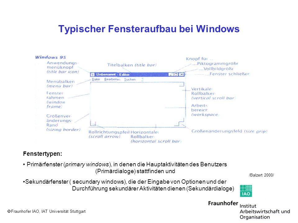 Fraunhofer IAO, IAT Universität Stuttgart Typischer Fensteraufbau bei Windows /Balzert 2000/ Fenstertypen: Primärfenster (primary windows), in denen d
