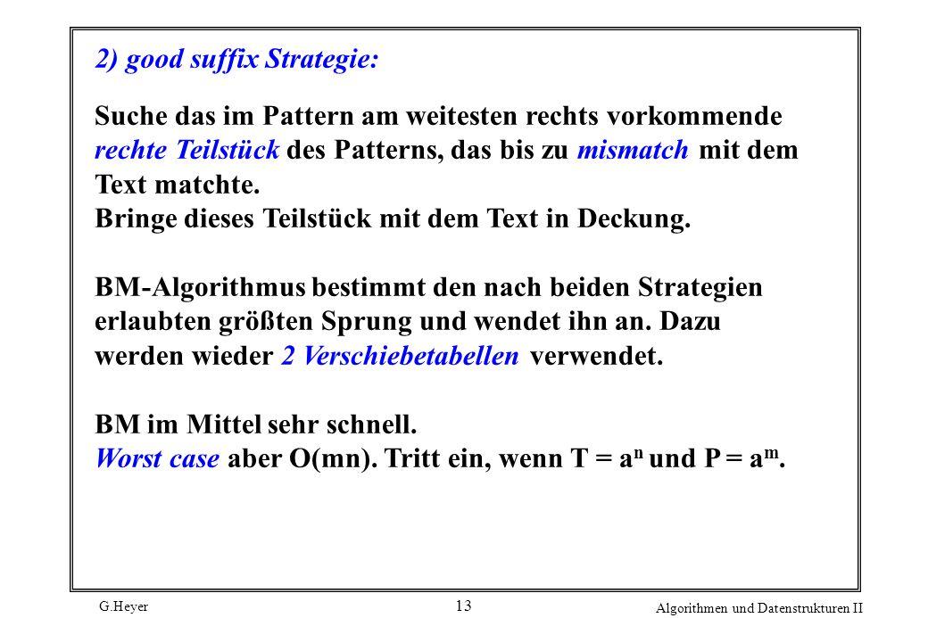 G.Heyer Algorithmen und Datenstrukturen II 13 2) good suffix Strategie: Suche das im Pattern am weitesten rechts vorkommende rechte Teilstück des Patt